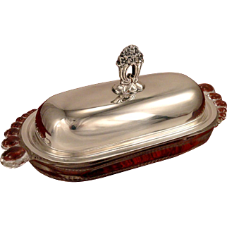 Rare 1941 ETERNALLY YOURS Vintage 1847 Rogers Bros. Silver Plate & Glass Butter Dish