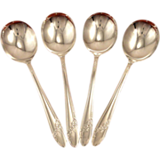 Set 4 Oneida Tudor Plate QUEEN BESS II Vintage 1946 Round Bowl Gumbo Soup Spoons Silver Plate Flatware Silverware