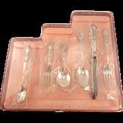 6 Piece Unused Childrens GIRL Step-Up Silverware Flatware Set Vintage 1847 Rogers Bros. HERITAGE 1953 Silver Plate