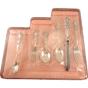 6 Piece Unused Childrens GIRL Step-Up Silverware Flatware Set Vintage 1847 Rogers Bros. HERITAGE 1953 Silver Plate