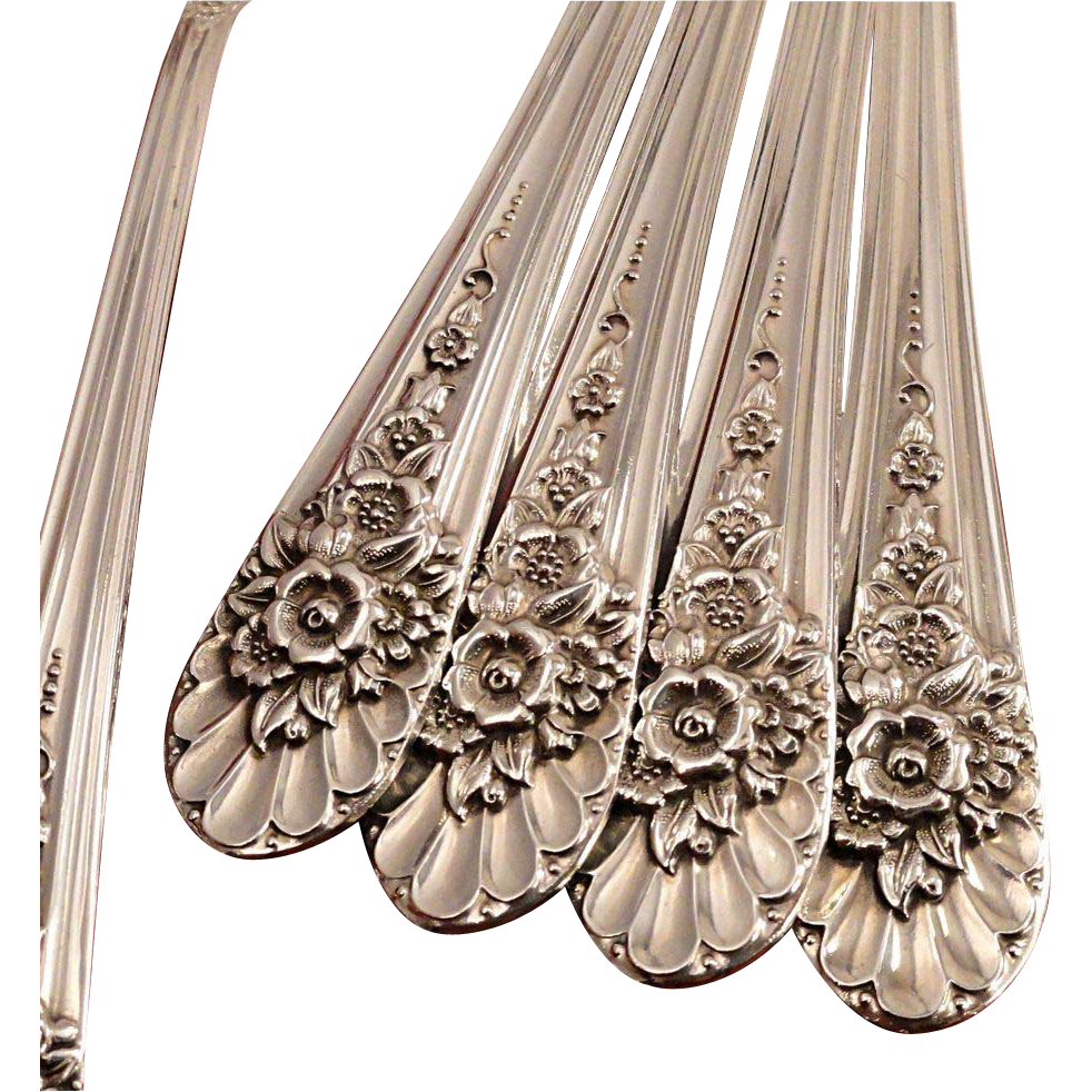 EX 4 Rogers JUBILEE Oval Soup Place Spoons by Wm Rogers Mfg. 1953 Vintage Silver Plate Silverware
