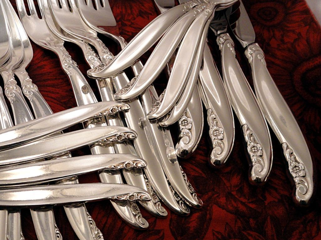 1847 Rogers LEILANI Silverware Set Vintage 1961 Silver Plate Flatware Dinner Service for 4, 8, 12 or 16