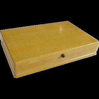 Retro Mid-Century 1847 Rogers Blonde Wood Silverware Flatware Storage Box Chest Case