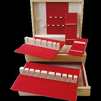 Vintage Oneida Community Blonde Wood Footed Silverware Flatware Storage Box Chest W Drawer