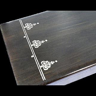 Vintage Moderne ART DECO 1930's Ebony Wood With Stencil Design Silverware Flatware Storage Box Chest Case