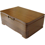 Vintage Oneida Community 1950's Mid-Century Wood Silverware Flatware Storage Box Case Chest With Drawer