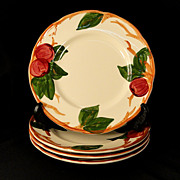 "Set 4 Vintage Franciscan China APPLE 8"" Salad Plates U.S.A."