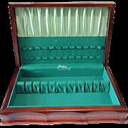 Vintage Gorham Art Deco Sculptured Mahogany Wooden Silverware Flatware Anti Tarnish Storage Box Case Chest