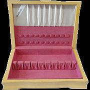 Vintage INTERNATIONAL Silver 1950's Blonde Wood Silverware Flatware Storage Box Chest With Mountain Rose Floral Design