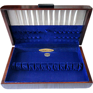 Vintage Oneida COMMUNITY Plate Art Deco Extra Long Wood Silverware Flatware Storage Box Chest