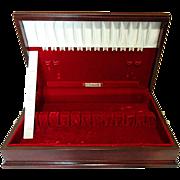 Vintage Oneida COMMUNITY Wooden Silverware Flatware Storage Box Chest With Side Handles in Original Cardboard Box