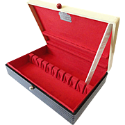 Vintage ART Deco McGraw Solid Wood Silverware Flatware Anti Tarnish Storage Box Chest