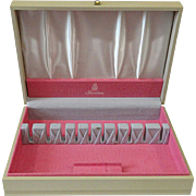 Vintage 1950's Blonde Wood With Pink & Gray Interior Silverware Flatware Storage Box Chest By Naken's for Sears Tradition