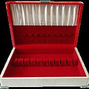 Vintage Art Deco Red Top & Faux Leather Leatherette Silverware Flatware Storage Box Chest