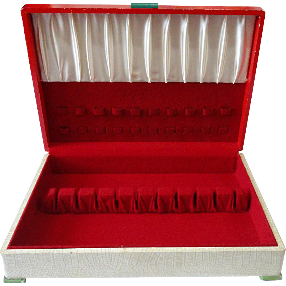 Vintage Art Deco Red Top & Faux Leather Leatherette Silverware Flatware Storage Box Chest