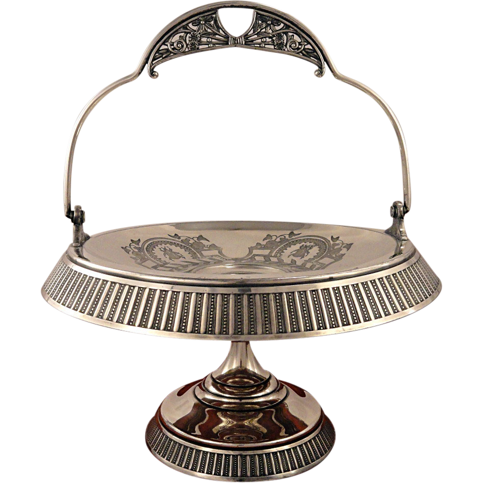 Rare Antique Aurora Aesthetic Victorian Triple Silver Plate Scarab Beetle Bride's Cake Basket