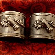 Antique Victorian Figural Hands Auntie Uncle Pair Napkin Rings Silver Plate