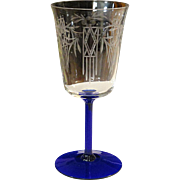Rare Oneida Community Crystal 1930 NOBLESSE Art Deco Etched Water or Wine Goblet With Cobalt Ribbed Stem
