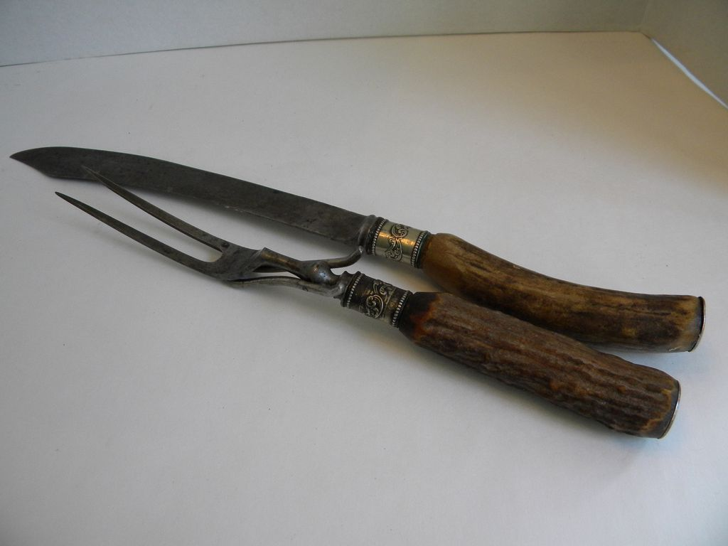 antique antler and sterling silver carving knife set 19th