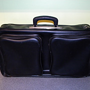 1960's Vintage Black Vinyl Overnight Bag Briefcase Suitcase Luggage