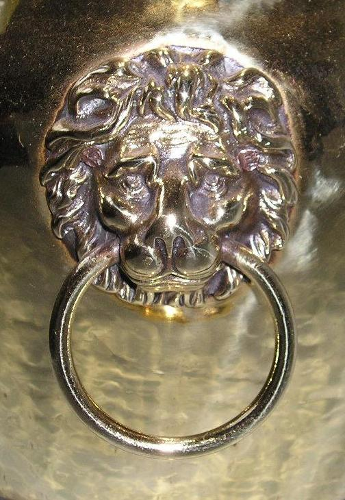 English Brass Jardiniere with Lion Head Mounts, Circa 1890