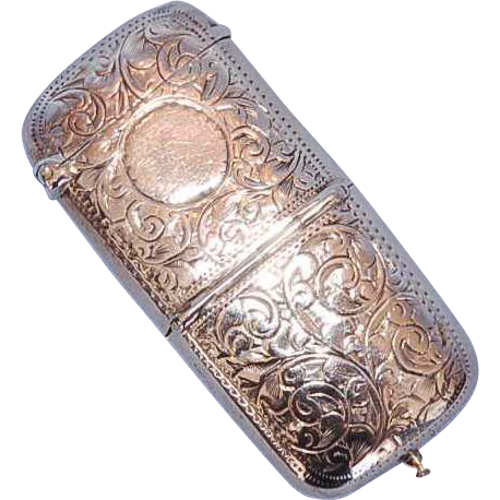 English Sterling Silver Vesta and Sovereign Case with Gilt Interior, Birmingham, 1899