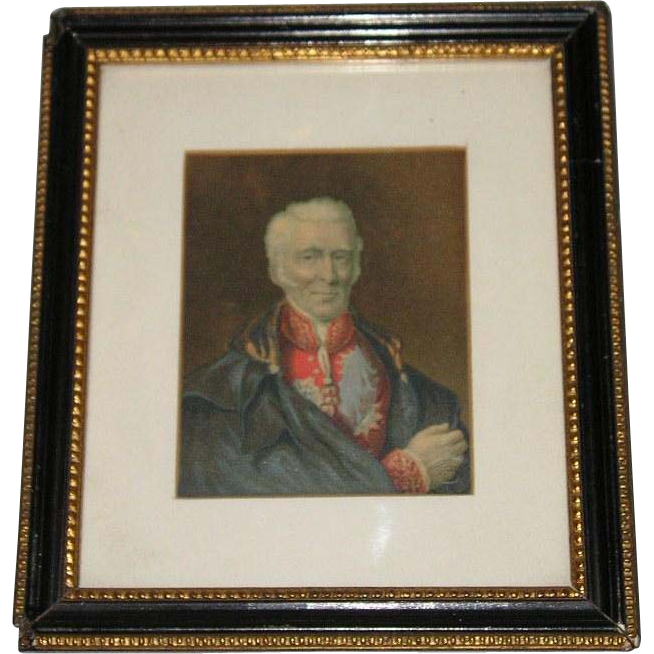 "Mid-19th Century Original George Baxter Oil Portrait Print of the Duke of Wellington with ""Arms"" in Original Frame"