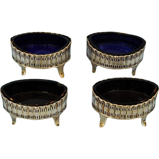 Early 19th Century Scottish Sterling Silver and Gilt Salt Cellars with Original Cobalt Glass Liners by John MacDonald