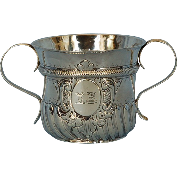 Early 18th Century English 958 Britannia Silver Caudle Cup by Humphrey Payne