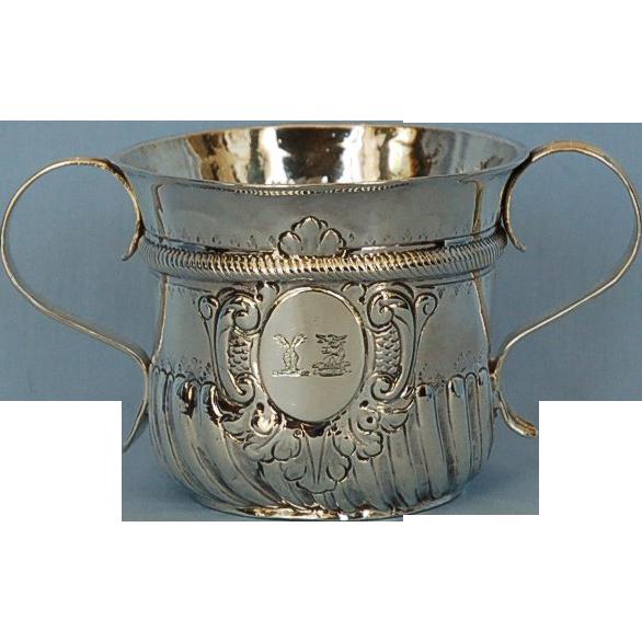 18th Century English 958 Britannia Silver Caudle Cup by Humphrey Payne