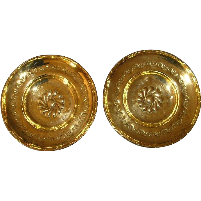 19th Century Pair of English Brass Alms Dishes