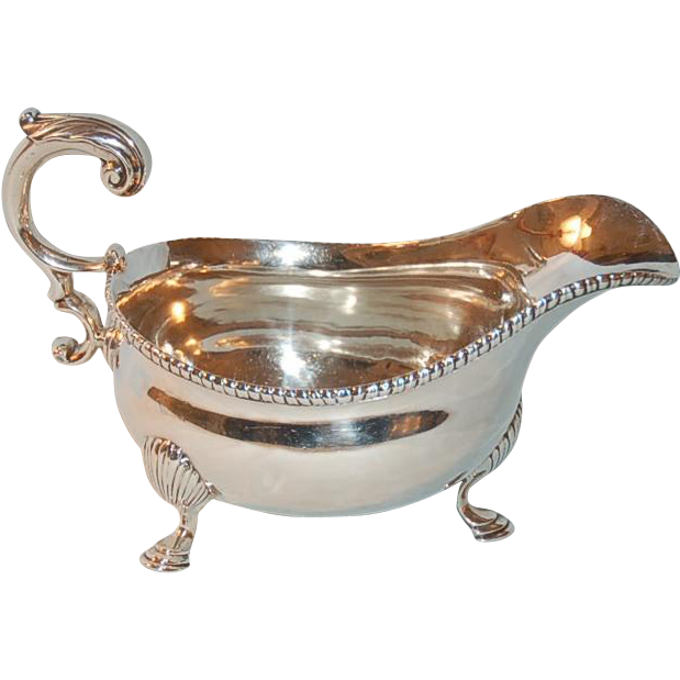 Antique Georgian Sterling Silver Gravy Boat by S. Herbert & Co., London