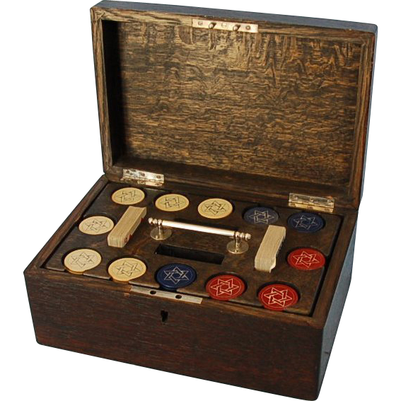 Late 19th Century Oak Poker or Game Box with Sterling Silver Initials, probably English