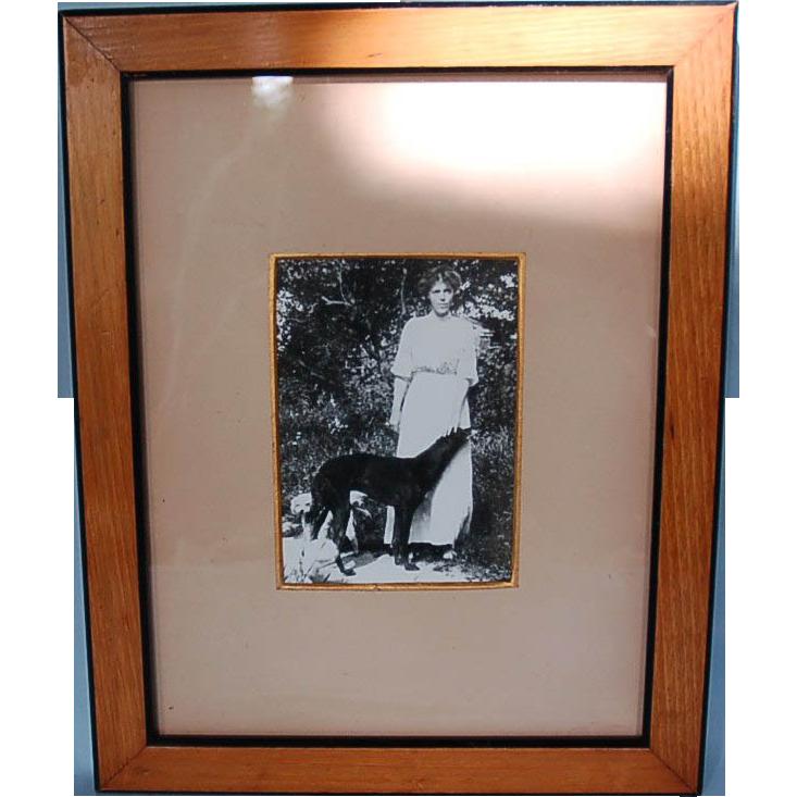 Original Pre-Revolution Framed Photograph of Russian Grand Duchess Olga Alexandrovna and Dogs