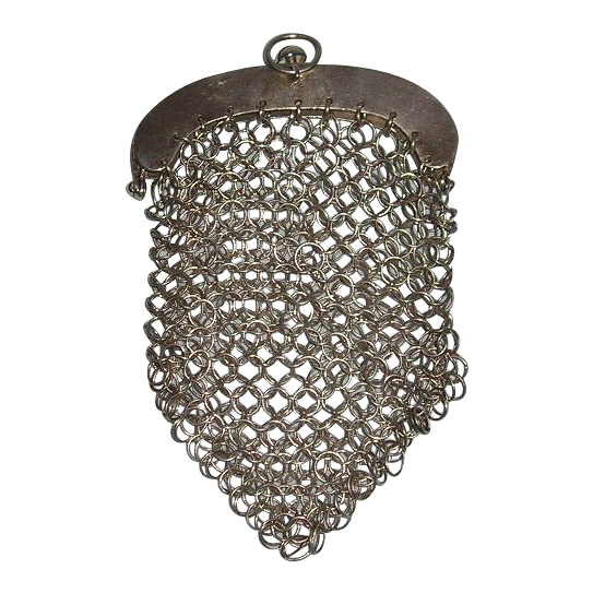 Early 19th Century Rare 800 Fine Silver German Mesh Purse with Suspension Ring
