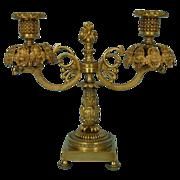 Early 19th Century English Parcel-Gilt Bronze Candelabrum