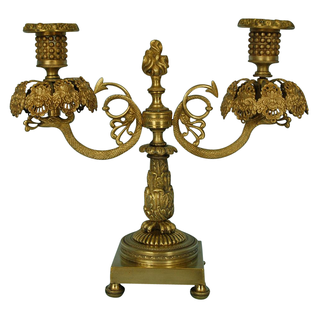 Early 19th Century English Parcel-Gilt Bronze Candelabrum