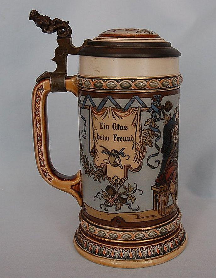19th Century Signed Mettlach Stein #1932 : FitzSimon