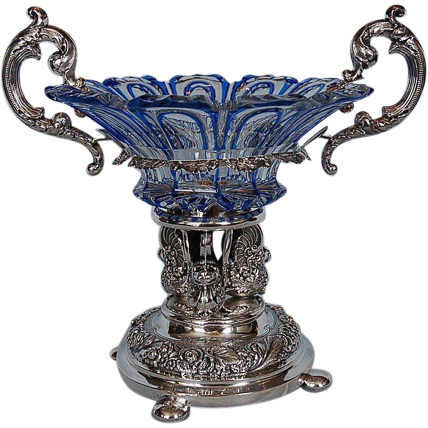 Early 19th Century Bohemian cut glass Comport with Silver Mounts by Johann Friedrich Brahmfeld