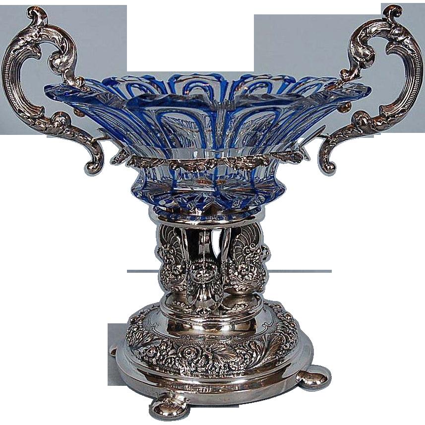 Early 19th Century Bohemian cut glass Comport with Silver Mounts by Johann Friedrich Brahmfeld