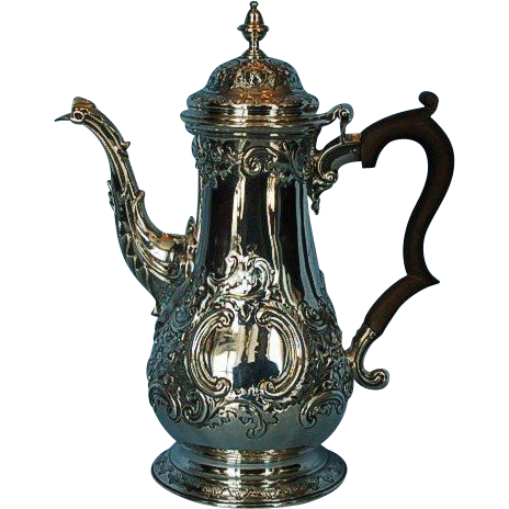 18th Century English Sterling Silver Coffee Pot by Francis Crump