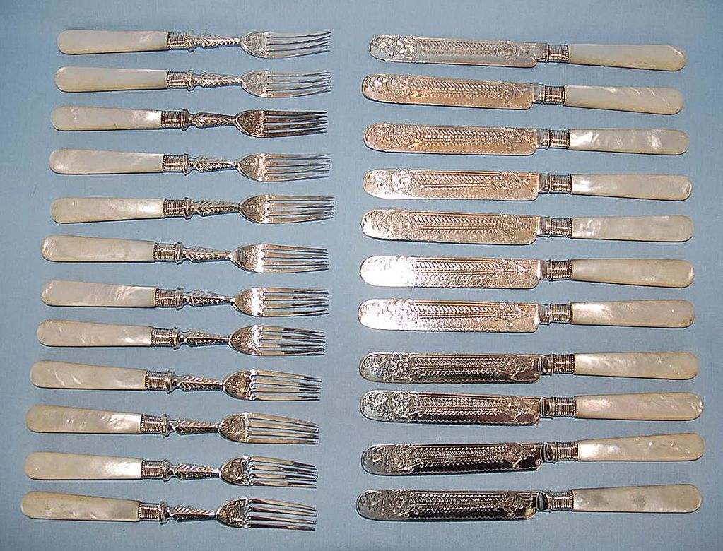 19th Century English Twenty-three Piece Sterling Silver & Mother-of-Pearl Fruit Set