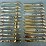 Set of Twenty-Four Early 20th Century Russian 875 Silver & Gilt Fruit Forks & Knives by Morozov