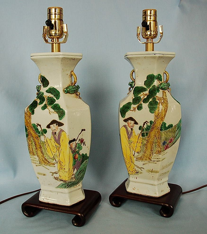 Early 20th century pair of chinese pottery vase lamps from roll over large image to magnify click large image to zoom reviewsmspy