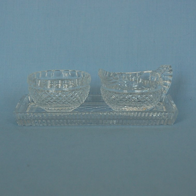 Modern Irish Cut Glass Creamer & Sugar Bowl on Tray Signed Fuaran Waterford