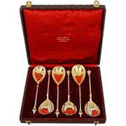 Mid-19th Century Set of Six German 800 Fine Silver Spoons in Original Gilt-tooled Leather Case