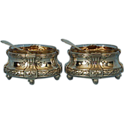 19th Century Pair of French 950 Silver Salt Cellars with Clear Glass Liners & Shovel-shaped Spoons