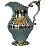 19th Century German 800 Fine Silver Hand-Hammered Water Pitcher by Osthues