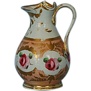 19th Century English Gold & Rose Decorated Porcelain Jug