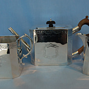 19th Century English Sterling Silver Tea Set by Henry Holland with Matching Silverplate Coffee Pot by George Henry Baron